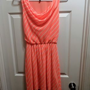 Express Coral and White Dress